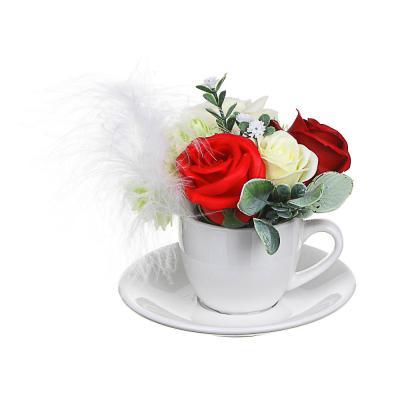 412-060 LADECOR Букет из мыльных лепестков в керамической чашке с блюдцем, 12,5х11,5см, 4 цвета