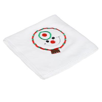 396-610 Полотенце подарочное с вышивкой, микрофибра, 30х30см, с Дедом Морозом и Снеговиком, 8,5х6,5см