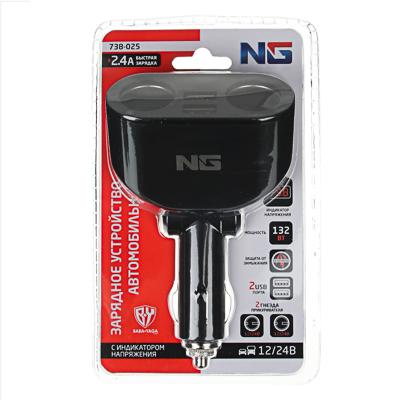 738-025 NG Зарядное устройство в авто с дисплеем, 2 гнезда прикуривателя, 2xUSB, 2.4A, блистер, пластик