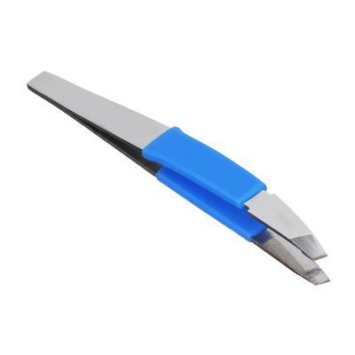 357-206 ЮниLook Пинцет для бровей с силиконовыми держателями, нерж.сталь, 9,3см, 3 цвета