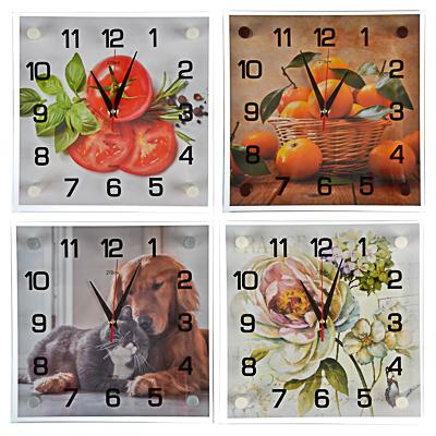 581-819 Часы настенные, 25х25см, стекло, 4 дизайна