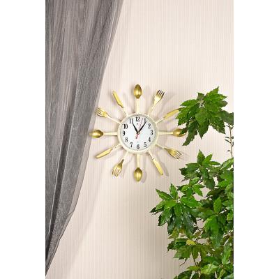 581-826 Часы настенные, 33см, пластик, в декоративной раме Вилки-ложки