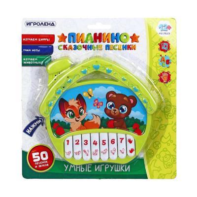 """272-721 ИГРОЛЕНД Игрушка интерактивная """"Пианино Сказочные песенки"""", звук, PP, 2АА, 20,3x21,4x2,8см"""