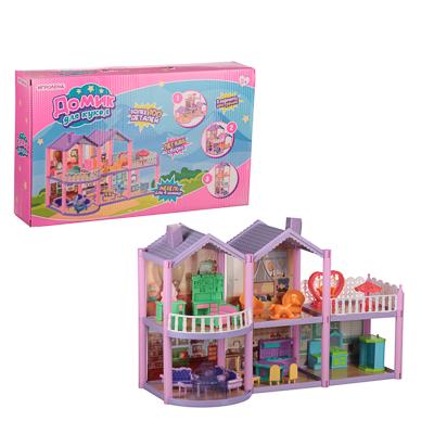 294-134 ИГРОЛЕНД Домик для кукол с мебелью, 111 дет., пластик, картон, 31х20х6,5см