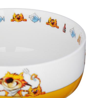 829-196 MILLIMI Полосатый кот Набор детской посуды 3 предмета, костяной фарфор