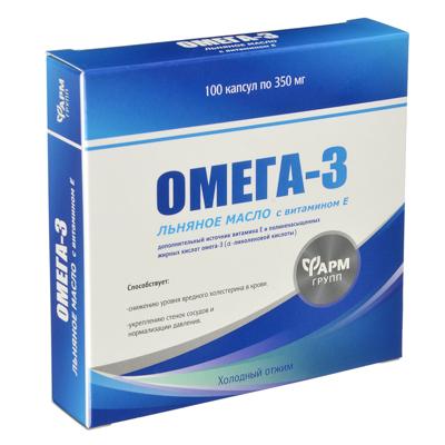 015-105 БАД Омега-3, льняное масло с витамином Е, капсулы 350мг, № 100