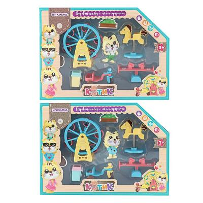 258-020 ИГРОЛЕНД Игровой набор в виде котика с аксессуарами, 6пр., ABS, 25х18х5,