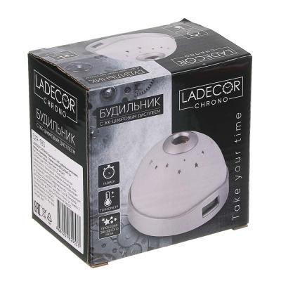 529-183 LADECOR CHRONO Будильник с ЖК-цифровым дисплеем, таймер, термометр, с проекцией,ABS, 5x10x10см