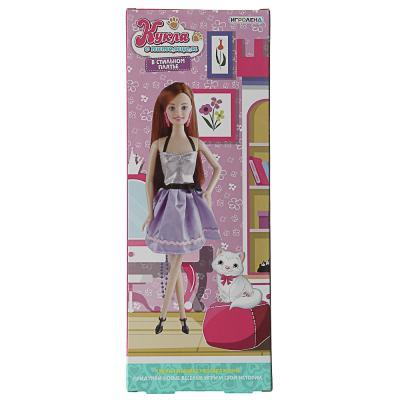 267-845 ИГРОЛЕНД Кукла в стильном платье с питомцем, ABS, полиэстер, 12х32х5,5см, 2 дизайна