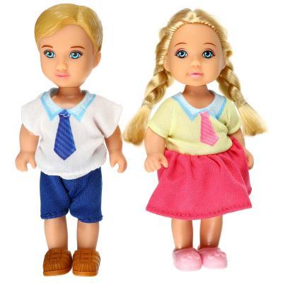 267-854 ИГРОЛЕНД Набор кукол в виде маленьких школьников, 11,5см, ABS, полиэстер, 12х16х4, см