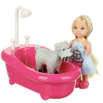 267-856 ИГРОЛЕНД Кукла с питомцем (меняет цвет) в ванной, 5 пр., 11,5см, ABS, ПВХ, полиэстер, 22х16х9см