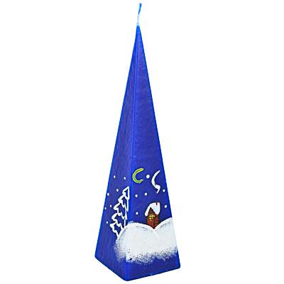 """396-616 СНОУ БУМ Свеча парафиновая """"Избушка"""", пирамидка синяя с ручной росписью, 23 см"""