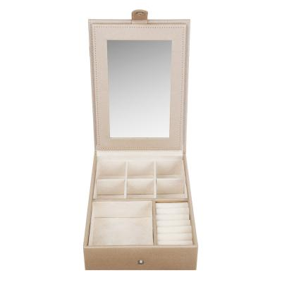 504-653 LADECOR Шкатулка для украшений с зеркалом и секциями, 21,5х15,5х5,5см, полиэстер, 2 цвета