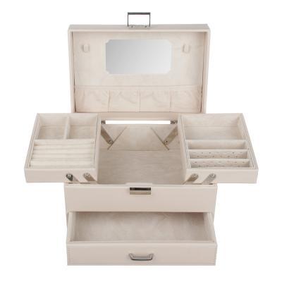 504-658 LADECOR Шкатулка для украшений с зеркалом, 2 выдвижных яруса с секциями, 22,5х15,5х14см, полиэстер