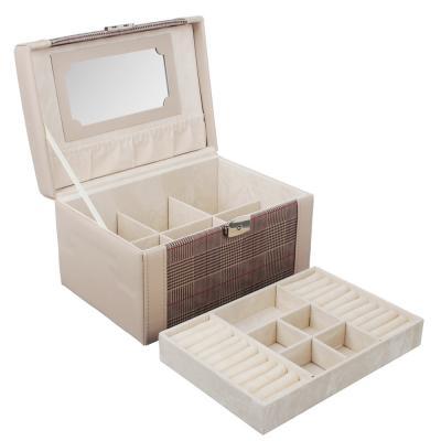 504-659 LADECOR Шкатулка для украшений с зеркалом и съемным ярусом с секциями, 23х16,5х13,5см, полиэстер