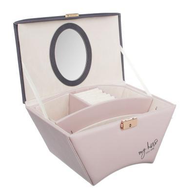 504-660 LADECOR Шкатулка для украшений с зеркалом и съемным ярусом с секциями, 25х16х14см, полиэстер