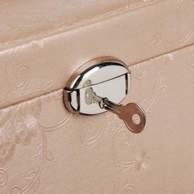 504-661 LADECOR Шкатулка для украшений с зеркалом, 2 выдвижных яруса с секциями, 23х16х15см, полиэстер