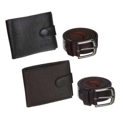 311-414 PAVO Ремень мужской 120х3,2см + портмоне на застежке 11х9см, ПУ, металл, цвет коричневый, 2 диз