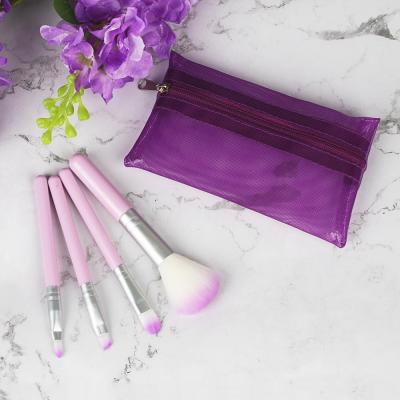 357-223 Кисти для макияжа в косметичке ЮниLook, 12 см, ворс нейлон, 5 цветов