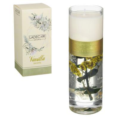508-632 LADECOR Свеча ароматическая с декором, в стеклянном подсвечнике, 16,5см, 4 вида