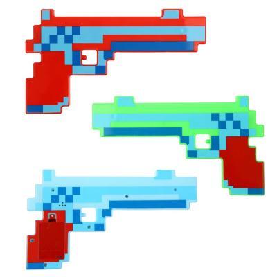 """261-696 ИГРОЛЕНД Пистолет """"Мир Квадратов"""", свет, звук, 3AАА, PP, 25x15x1,6см, 2 дизайна"""