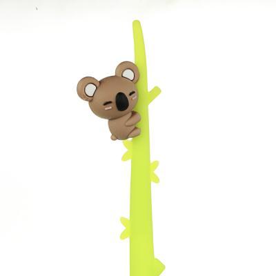 591-058 Ручка гелевая синяя, гибкий силиконовый корпус в форме коалы на ветке, пластик, 22см, 3 дизайна