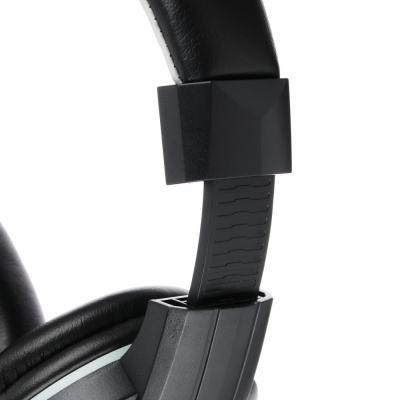 Наушники накладные, с микрофоном, кабель 150см, с регулятором громкости, черно-серые, пластик-5
