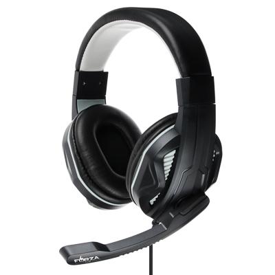 Наушники накладные, с микрофоном, кабель 150см, с регулятором громкости, черно-серые, пластик