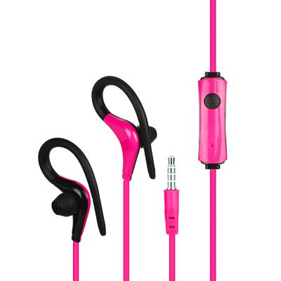 Наушники внутриканальные проводные с креплением за ухо, Спорт, цветные, 120см, микрофон