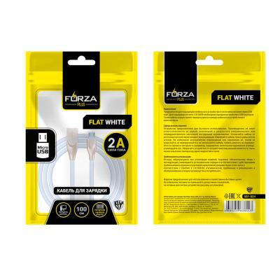 Кабель для зарядки Flat White, Micro USB, 1м, 2A, пластик, белый-1