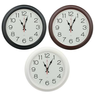 581-850 Часы настенные круг 35см, пластик, 3 цвета