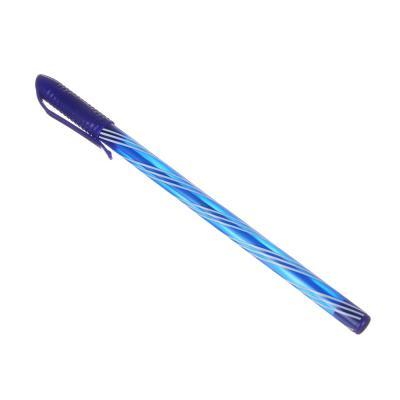 """627-071 Ручка шариковая синяя, с цветным """"закрученным"""" корпусом, 0,7 мм, 4 цвета корпуса, инд. маркировка"""