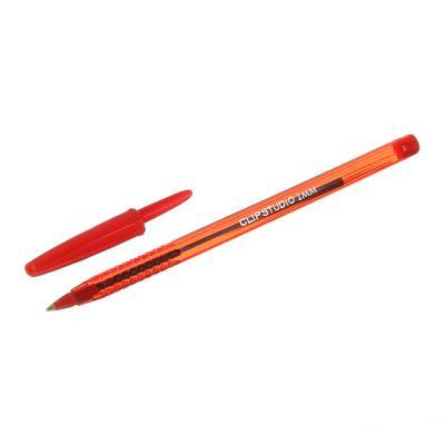 627-072 ClipStudio Ручка шариковая синяя, цветной прозрачный корпус, 1 мм, 4 цвета корпуса, инд.маркировка