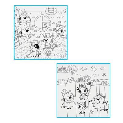 """280-005 ХОББИХИТ Коврик-раскраска многоразовый """"Три кота"""", 80х80см, 6 фломаст, полиэстер, пластик, 2 диз"""