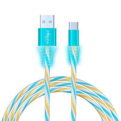 Кабель для зарядки Конфетти Type-C, 1.5А, 1м, цветная подсветка, 3 цвета, пакет-5
