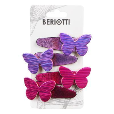 321-311 BERIOTTI Заколка для волос 4шт, пластик, сплав, 5см, 4-6 дизайнов