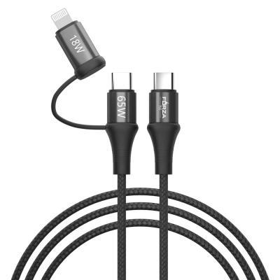 Кабель для зарядки 2 в 1, Type-C - Type-C (65W)/iP (PD, 18W), 1м, Быстрая зарядка, 3 цвета-2