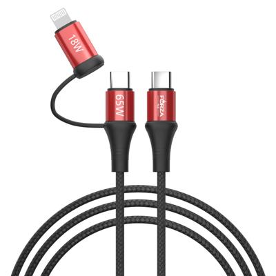 Кабель для зарядки 2 в 1, Type-C - Type-C (65W)/iP (PD, 18W), 1м, Быстрая зарядка, 3 цвета