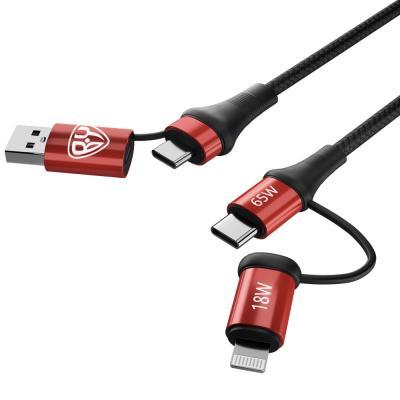 Кабель для зарядки 4 в 1, USB/Type-C - Type-C (65W)/iP (PD, 18W), 1м, Быстрая зарядка, 3 цвета-3