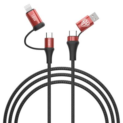 Кабель для зарядки 4 в 1, USB/Type-C - Type-C (65W)/iP (PD, 18W), 1м, Быстрая зарядка, 3 цвета