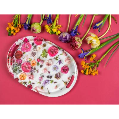 862-413 VETTA Цветы Поднос овальный, пластик, 38,5х27х3см, 2 дизайна