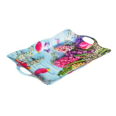 862-419 VETTA Цветочное ассорти Поднос, пластик,  38,5х27х3см, 2 дизайна