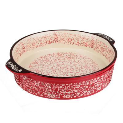 826-333 MILLIMI Форма для запекания и сервировки круглая с ручками, керамика, 29,5х25,5х6см, красный