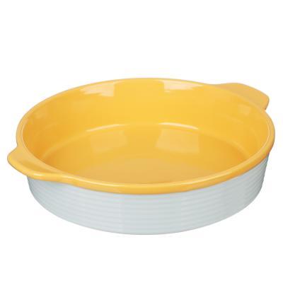 826-334 MILLIMI Форма для запекания и сервировки круглая с ручками, керамика, 29,5х25,5х6см, рельеф, 2 цвета
