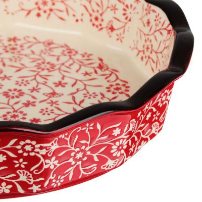 826-335 MILLIMI Форма для запекания и сервировки круглая, керамика, 22х4,5см, красный