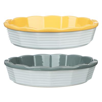 826-336 MILLIMI Форма для запекания и сервировки круглая, керамика, 22х5см, рельеф, 2 цвета