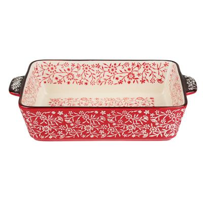 826-339 MILLIMI Форма для запекания и сервировки прямоугольная с ручками, керамика, 27,5х17х6см, красный