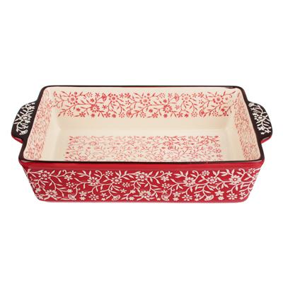 826-341 MILLIMI Форма для запекания и сервировки прямоугольная с ручками, керамика, 31х19,5х7см, красный