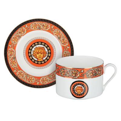 802-076 Рыжий Набор чайный 2 предмета (чашка 220мл, блюдце 13см), костяной фарфор, подарочная упаковка