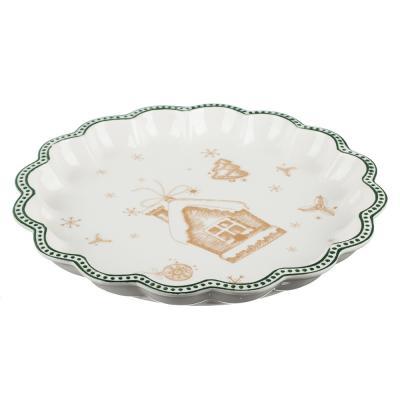 820-123 MILLIMI Пряничный домик Блюдо круглое с волнистым краем 30,5х3,5см, керамика